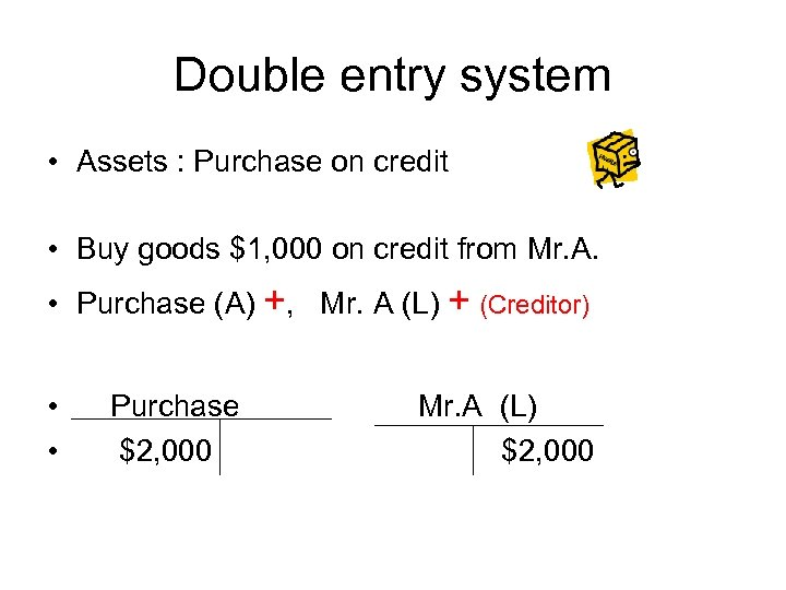 Double entry system • Assets : Purchase on credit • Buy goods $1, 000