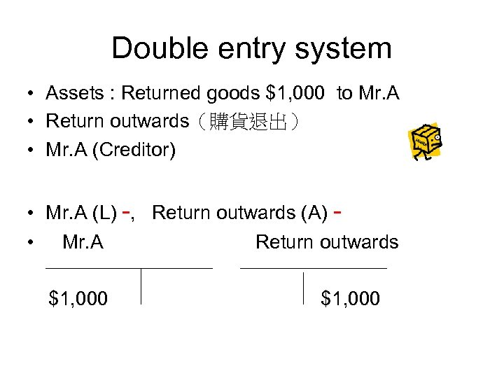 Double entry system • Assets : Returned goods $1, 000 to Mr. A •