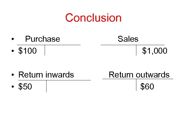 Conclusion • Purchase • $100 • Return inwards • $50 Sales $1, 000 Return