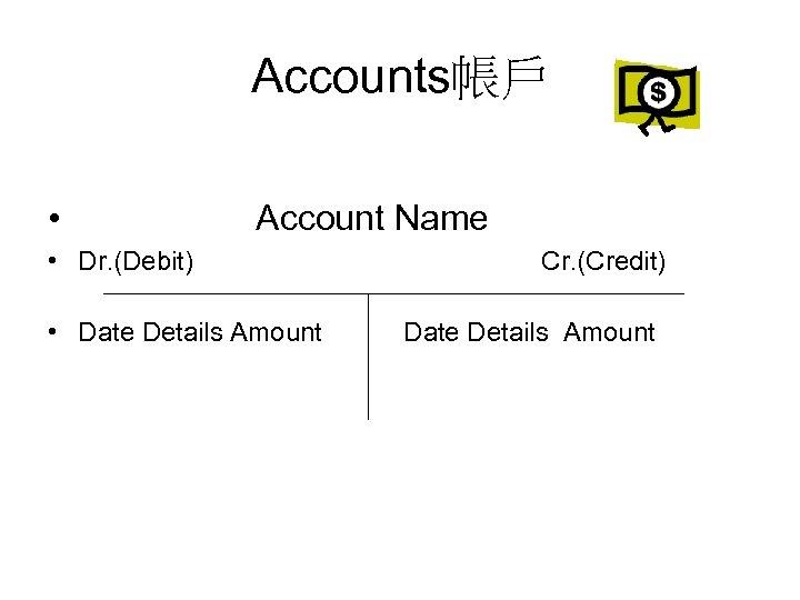 Accounts帳戶 • Account Name • Dr. (Debit) • Date Details Amount Cr. (Credit) Date