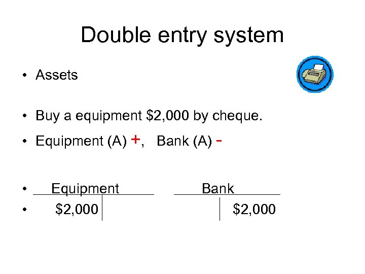 Double entry system • Assets • Buy a equipment $2, 000 by cheque. •