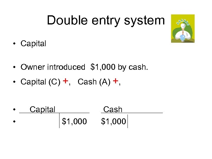 Double entry system • Capital • Owner introduced $1, 000 by cash. • Capital