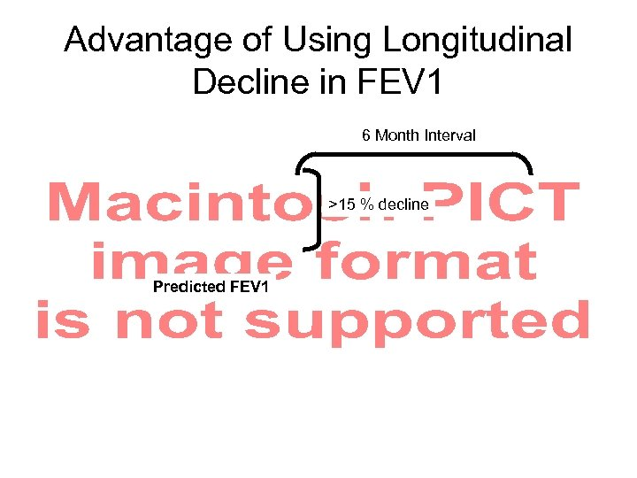 Advantage of Using Longitudinal Decline in FEV 1 6 Month Interval >15 % decline