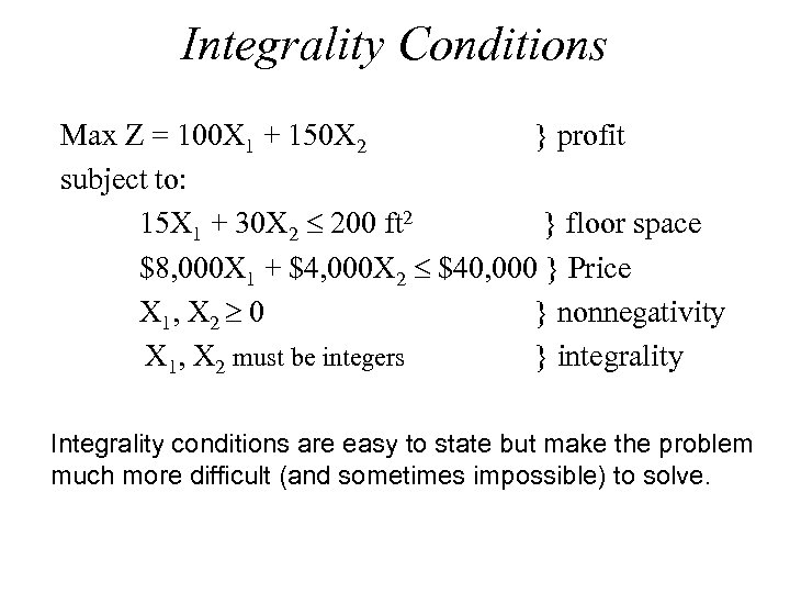 Integrality Conditions Max Z = 100 X 1 + 150 X 2 } profit