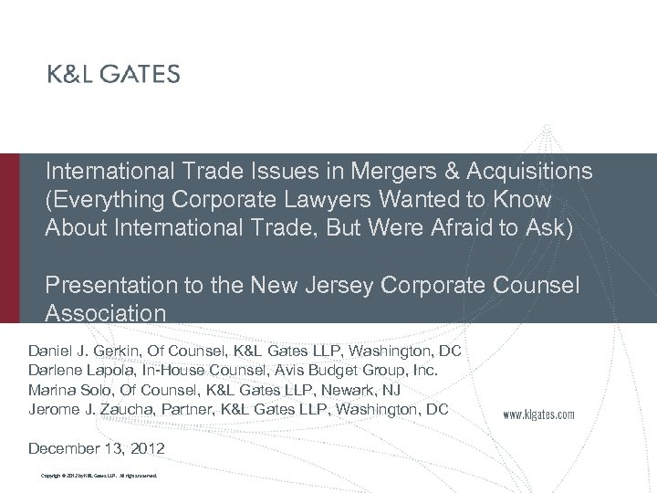 International Trade Issues in Mergers & Acquisitions (Everything Corporate Lawyers Wanted to Know About