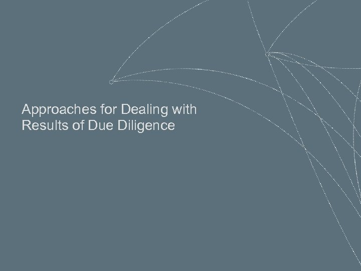 Approaches for Dealing with Results of Due Diligence 28