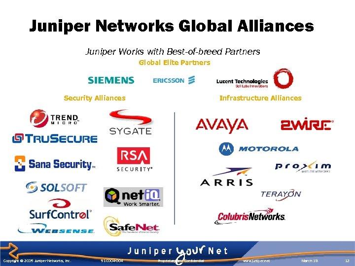 Juniper Networks Global Alliances Juniper Works with Best-of-breed Partners Global Elite Partners Security Alliances