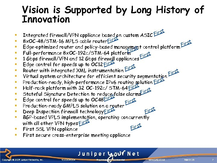 Vision is Supported by Long History of Innovation § § § § § t