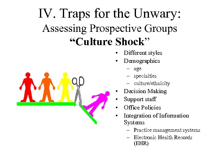 """IV. Traps for the Unwary: Assessing Prospective Groups """"Culture Shock"""" • Different styles •"""