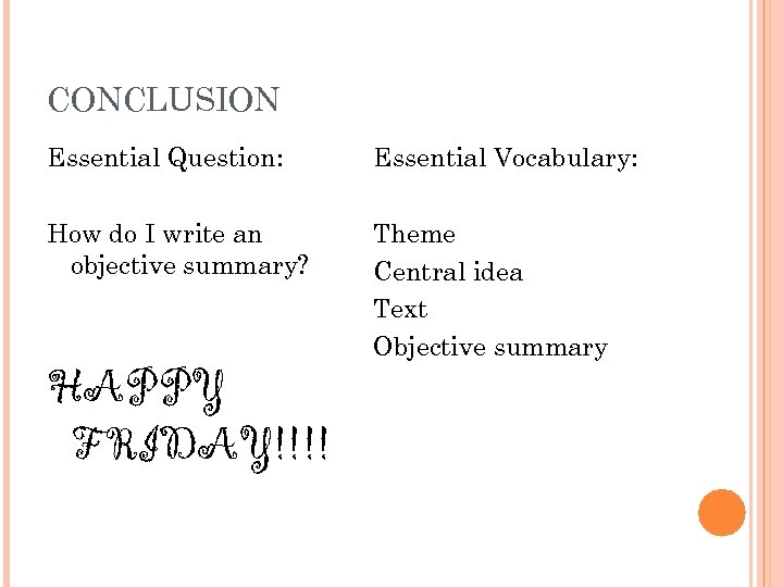 CONCLUSION Essential Question: Essential Vocabulary: How do I write an objective summary? Theme Central