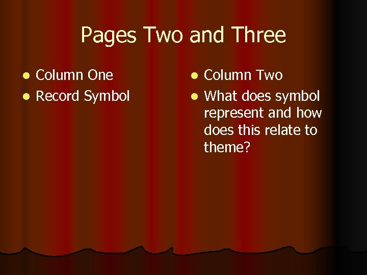 Pages Two and Three Column One l Record Symbol l Column Two l What