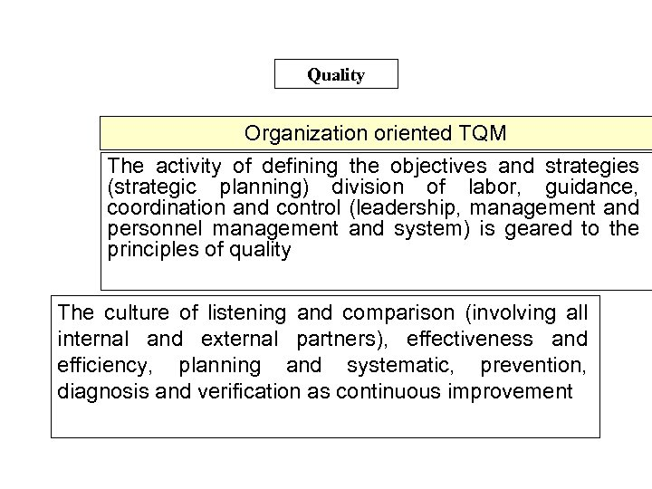 Quality Organization oriented TQM The activity of defining the objectives and strategies (strategic planning)