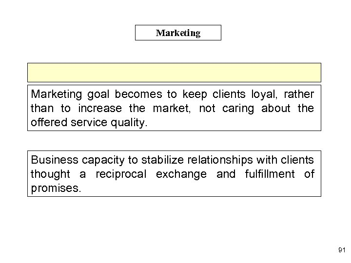 Marketing goal becomes to keep clients loyal, rather than to increase the market, not