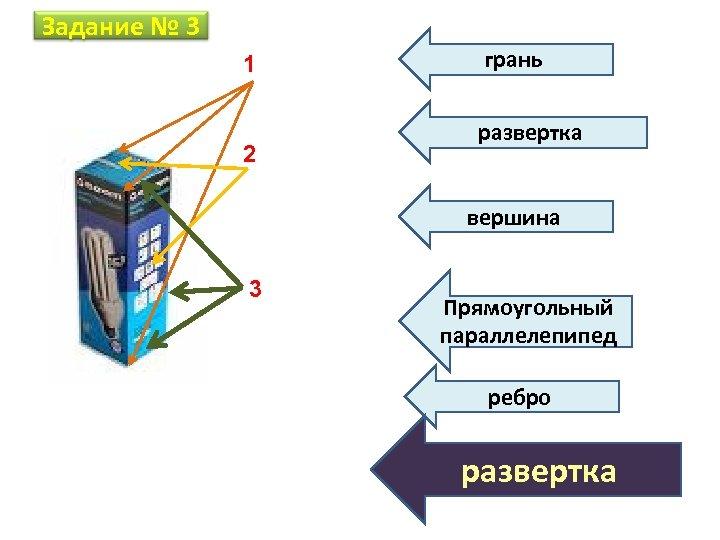 Задание № 3 1 2 грань развертка вершина 3 Прямоугольный параллелепипед ребро развертка
