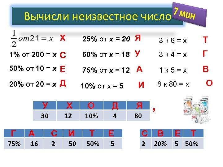 Вычисли неизвестное число Х 25% от x = 20 Я 3 к 6=x Т