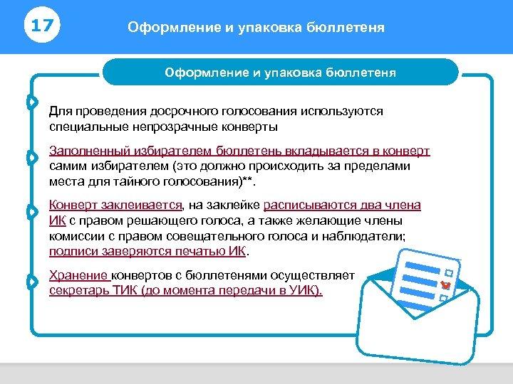 17 Оформление и упаковка бюллетеня Информирование избирателей Оформление и упаковка бюллетеня Для проведения досрочного