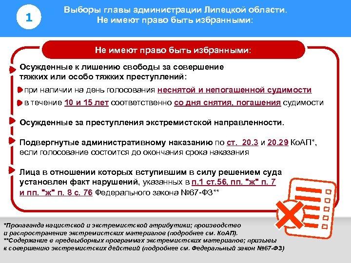 1 Выборы главы администрации Липецкой области. Не имеют право быть избранными: Информирование избирателей Не