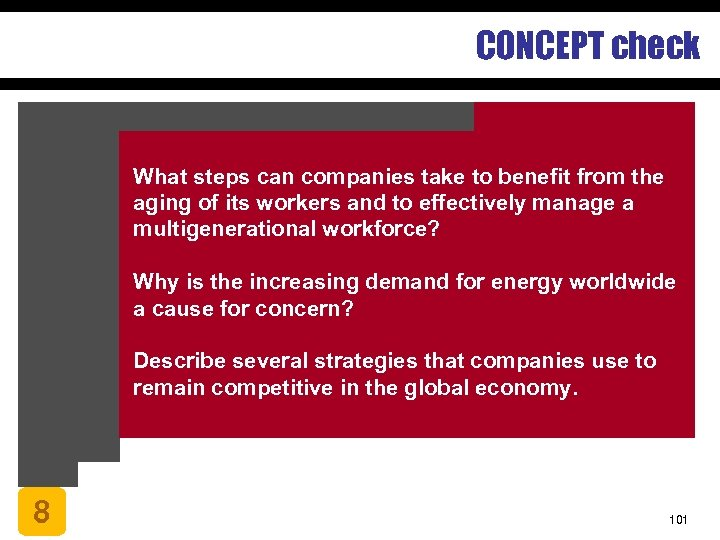CONCEPT check What steps can companies take to benefit from the aging of its