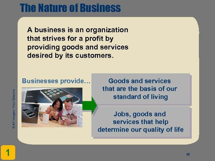 The Nature of Business A business is an organization that strives for a profit