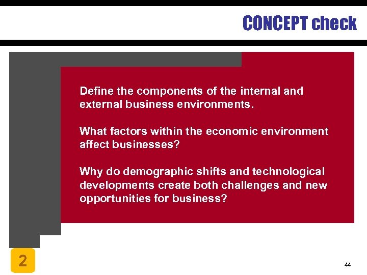 CONCEPT check Define the components of the internal and external business environments. What factors