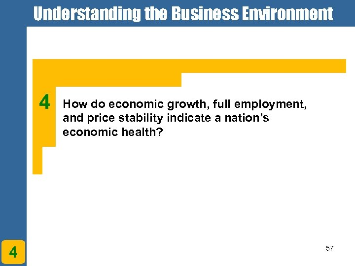 Understanding the Business Environment 4 4 How do economic growth, full employment, and price