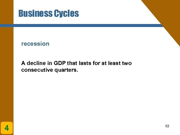 Business Cycles recession A decline in GDP that lasts for at least two consecutive