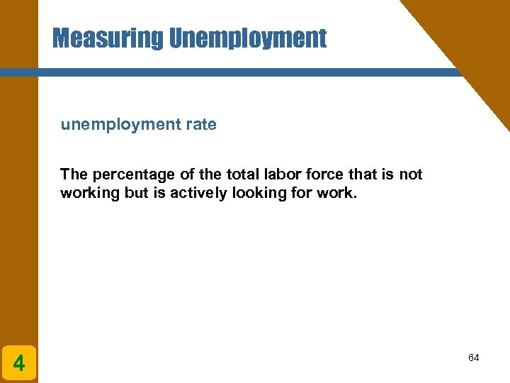 Measuring Unemployment unemployment rate The percentage of the total labor force that is not
