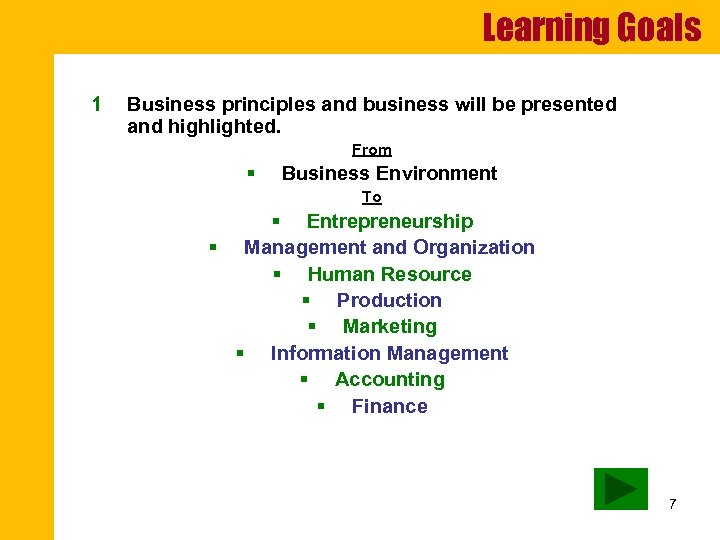 Learning Goals 1 Business principles and business will be presented and highlighted. From §