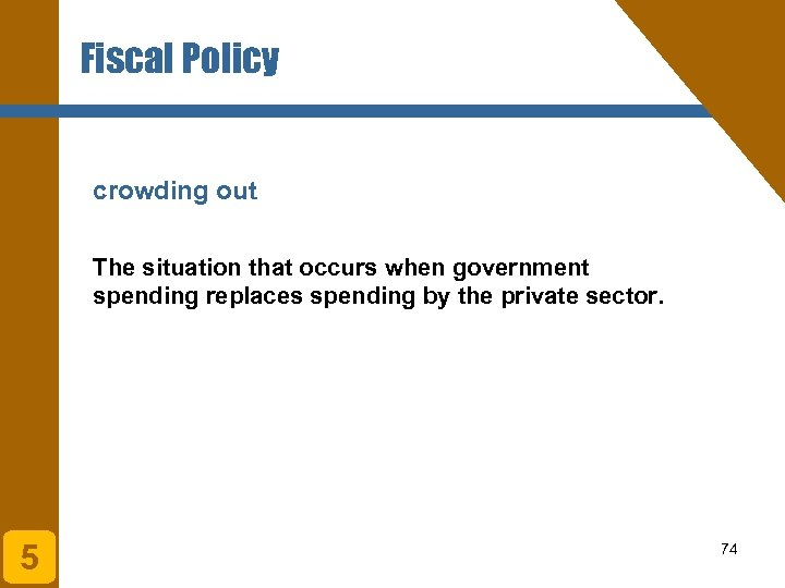 Fiscal Policy crowding out The situation that occurs when government spending replaces spending by