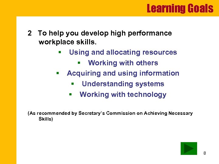 Learning Goals 2 To help you develop high performance workplace skills. § Using and