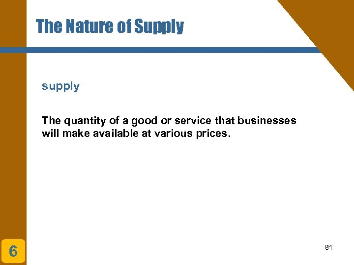 The Nature of Supply supply The quantity of a good or service that businesses