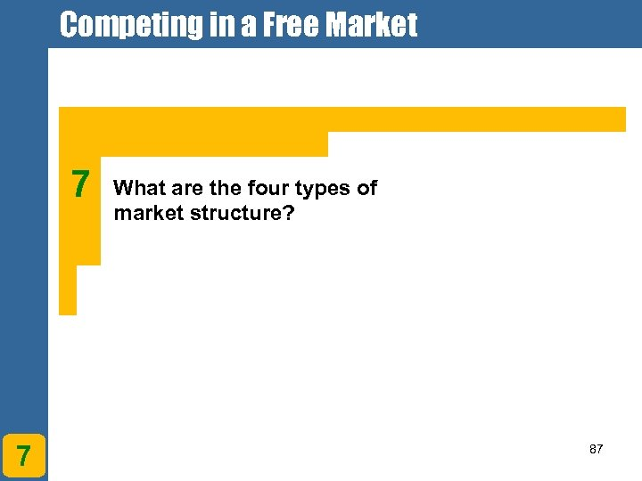 Competing in a Free Market 7 7 What are the four types of market