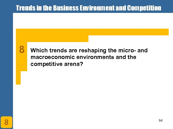 Trends in the Business Environment and Competition 8 8 Which trends are reshaping the