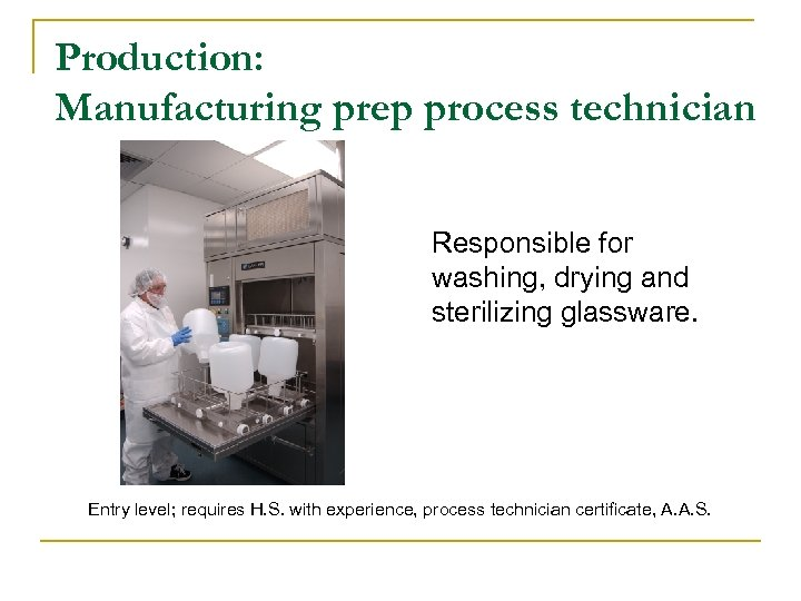 Production: Manufacturing prep process technician Responsible for washing, drying and sterilizing glassware. Entry level;