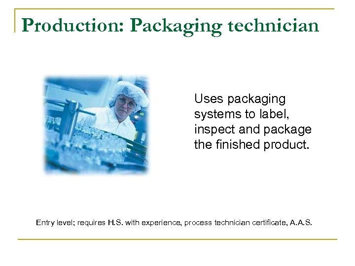 Production: Packaging technician Uses packaging systems to label, inspect and package the finished product.