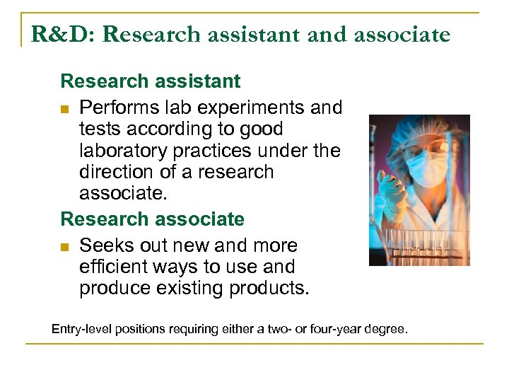 R&D: Research assistant and associate Research assistant n Performs lab experiments and tests according