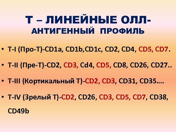 Т – ЛИНЕЙНЫЕ ОЛЛАНТИГЕННЫЙ ПРОФИЛЬ • Т-I (Про-Т)-CD 1 a, CD 1 b, CD