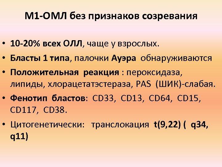 М 1 -ОМЛ без признаков созревания • 10 -20% всех ОЛЛ, чаще у взрослых.