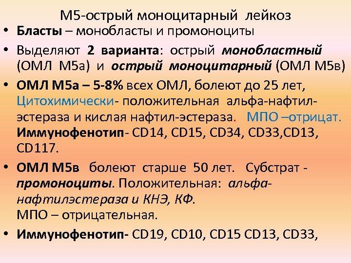 М 5 -острый моноцитарный лейкоз • Бласты – монобласты и промоноциты • Выделяют 2