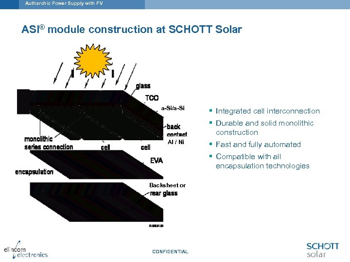 Autharchic Power Supply with PV ASI® module construction at SCHOTT Solar a-Si/a-Si § Integrated