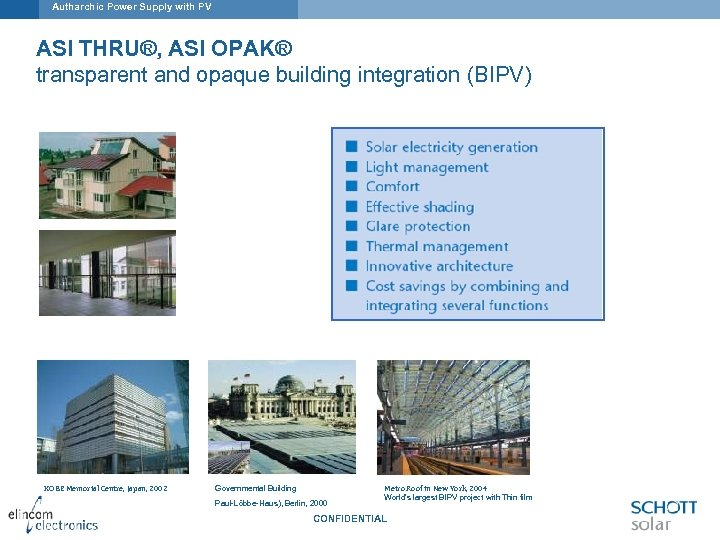 Autharchic Power Supply with PV ASI THRU®, ASI OPAK® transparent and opaque building integration