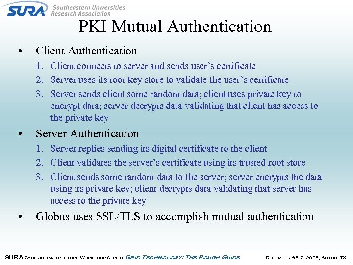 PKI Mutual Authentication • Client Authentication 1. Client connects to server and sends user's