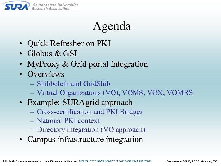 Agenda • • Quick Refresher on PKI Globus & GSI My. Proxy & Grid