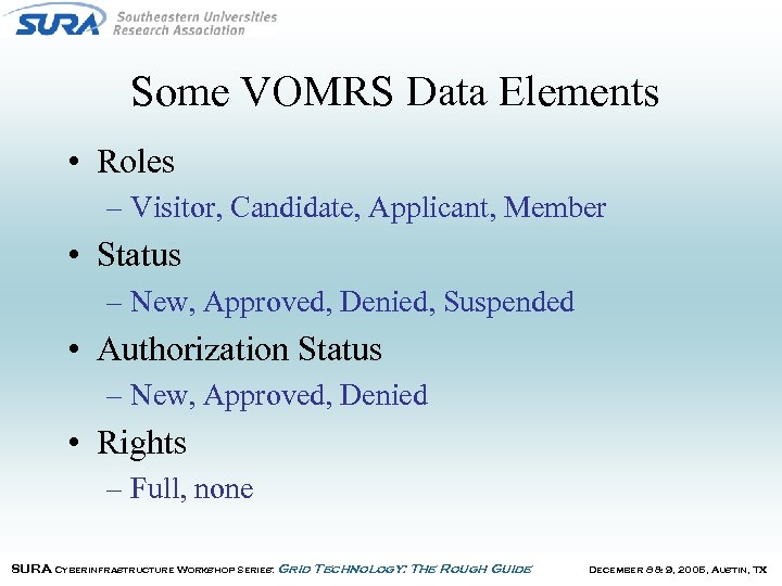 Some VOMRS Data Elements • Roles – Visitor, Candidate, Applicant, Member • Status –