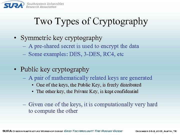 Two Types of Cryptography • Symmetric key cryptography – A pre-shared secret is used