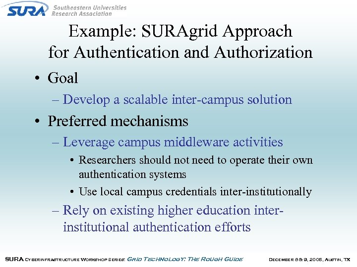 Example: SURAgrid Approach for Authentication and Authorization • Goal – Develop a scalable inter-campus