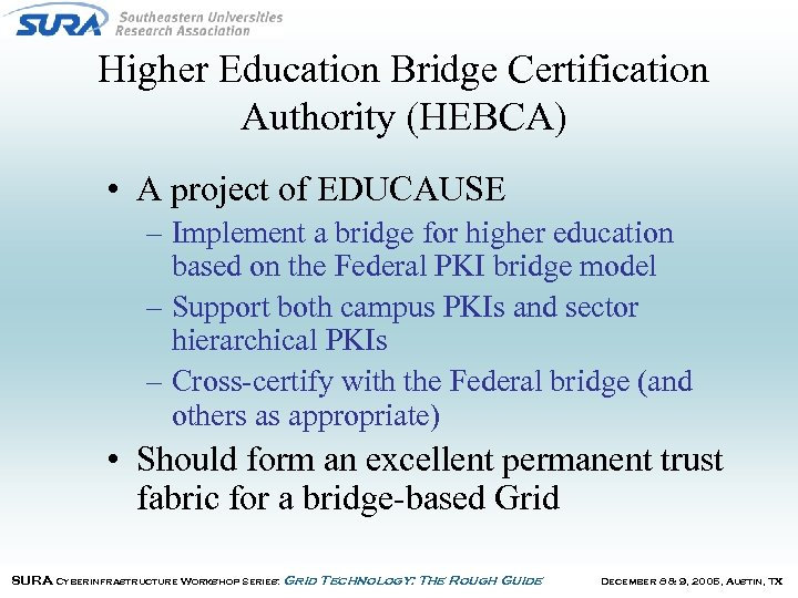 Higher Education Bridge Certification Authority (HEBCA) • A project of EDUCAUSE – Implement a
