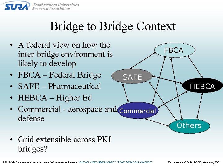 Bridge to Bridge Context • A federal view on how the FBCA inter-bridge environment