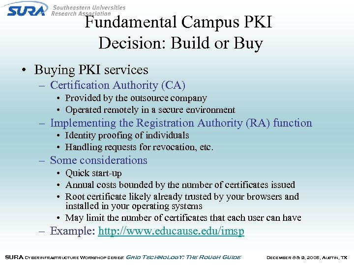 Fundamental Campus PKI Decision: Build or Buy • Buying PKI services – Certification Authority