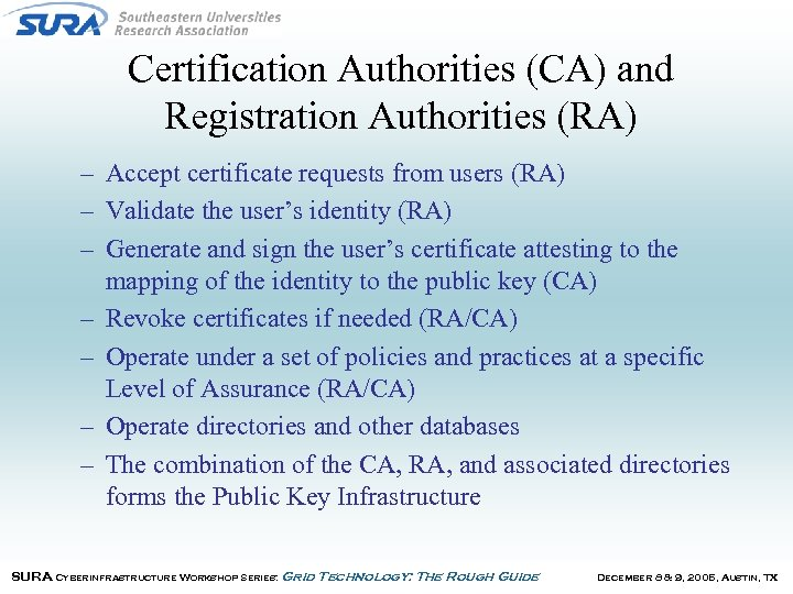 Certification Authorities (CA) and Registration Authorities (RA) – Accept certificate requests from users (RA)